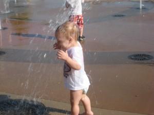 Lucas runs under the water