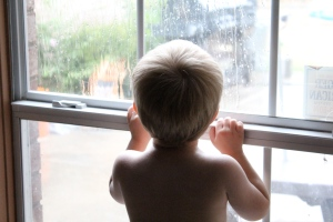 Lucas watching the rain
